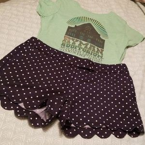 J. Crew navy polka dot scalloped hem shorts size 6